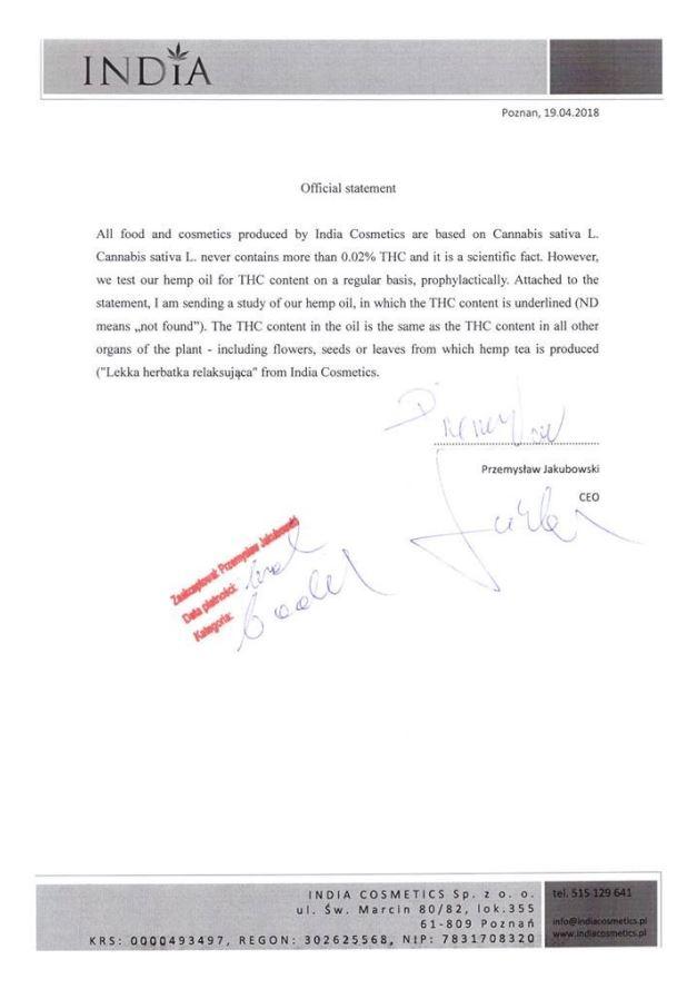 Declaración de no contenido de THC en los productos de India Cosmetics